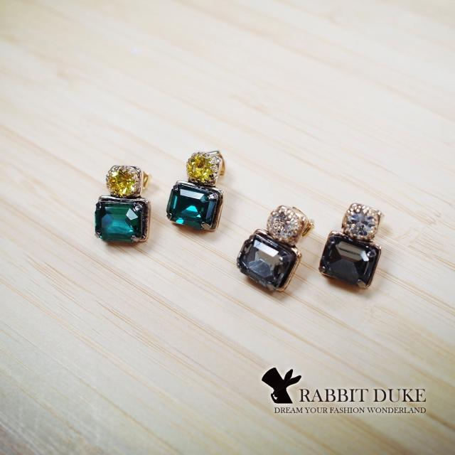【RD 兔子公爵】現貨 經典歐美風格 個性經典亮彩寶石跳色設計耳環(三色)