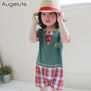 【baby童衣】連身衣 短袖假兩件V領格紋 42182(大綠)