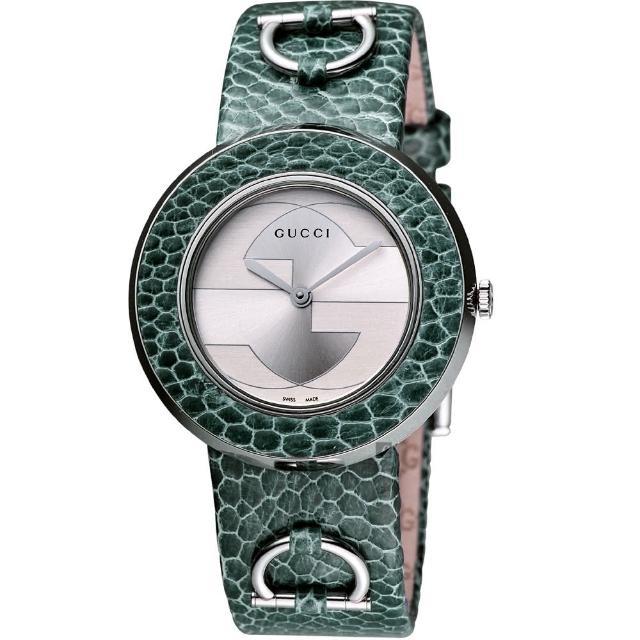 【GUCCI】U-Play 129SM系列專利皮革腕錶-黑/35mm(YA129401)