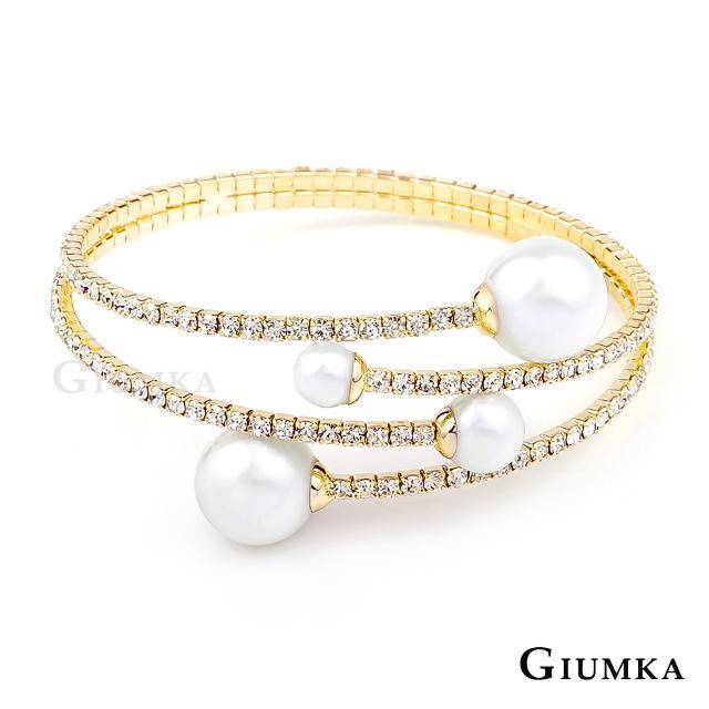 【GIUMKA】手環 韓系華麗甜美珍珠滿鑽  精鍍黃K  正韓貨   MB04029-2(金色)