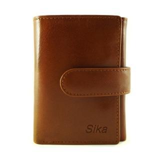 【Sika】義大利時尚真皮三折小皮夾A8280-01(原味褐)
