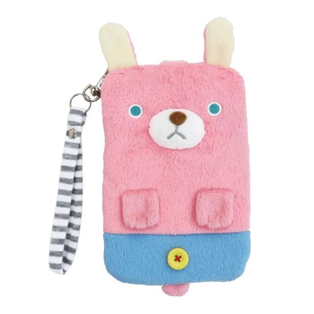 【UNIQUE】動物樂園毛絨手機提袋(粉紅兔)