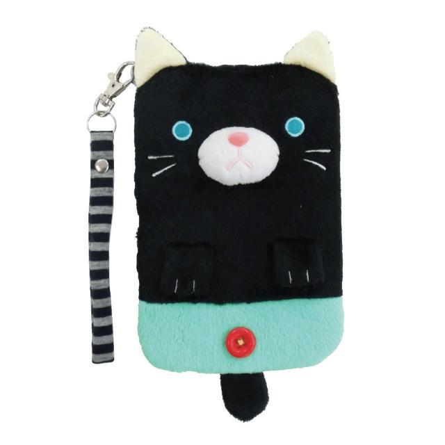 【UNIQUE】動物樂園毛絨手機提袋(小黑貓)