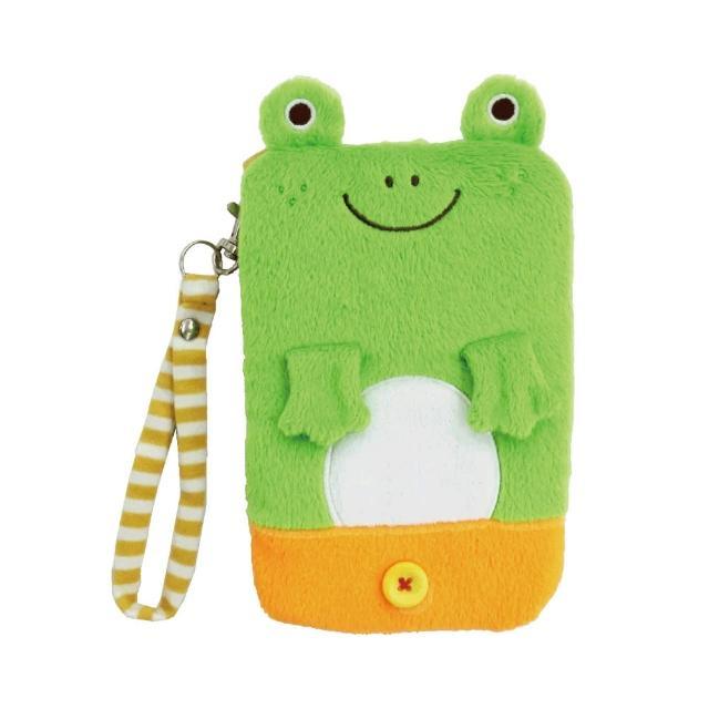 【UNIQUE】動物樂園毛絨手機提袋(小蛙君)