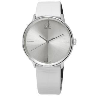 【Calvin Klein】Accent 極簡約瑞士機芯時尚皮革手錶 銀x白 40mm(K2Y2X1K6)