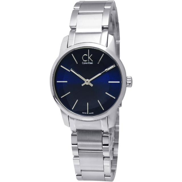 【Calvin Klein】CITY 永恆記憶 夜光腕錶 銀色 寶藍色 30mm(K2G2314N)