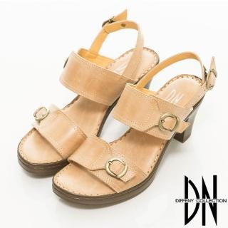 【DN】雅致輕著 簡約寬條繫踝粗跟涼鞋(米)