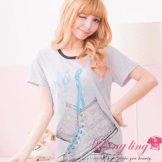 【lingling日系】PA1546全尺碼-球鞋圖案棉質連身T恤睡衣(休閒黑)