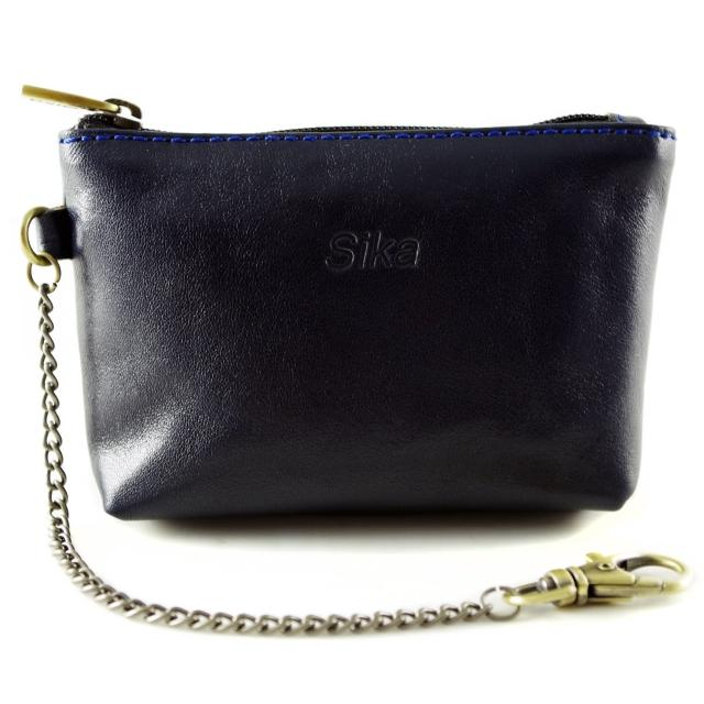 【Sika】義大利時尚真皮拉鍊零錢包A8228-06(清玉藍)