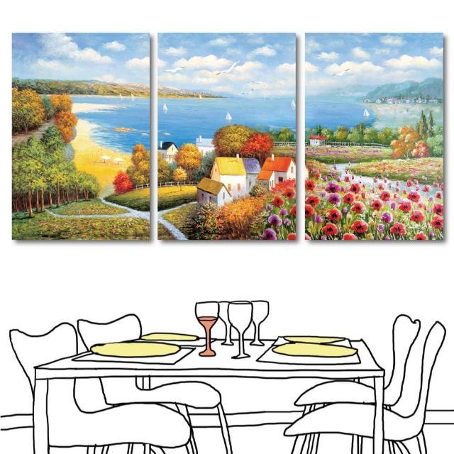 【橙品油畫布】三聯風景無框藝術掛畫40x60cm(shi-161)