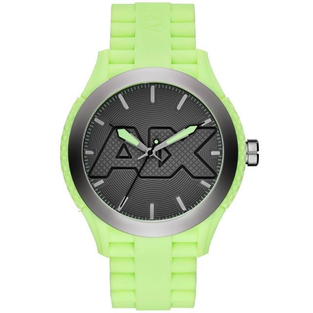 【A X Armani Exchange】玩味色調潮流時尚腕錶-螢光綠(AX1383)