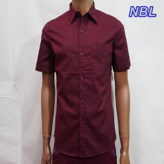 ~NBL~NEWBOYLONDON~T0463B淺藍色R酒紅色素面短袖襯衫 零碼 虧本價