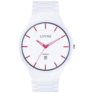 【LOVME】Concise陶瓷時尚腕錶-白x紅刻度(VC0288M-22-251)