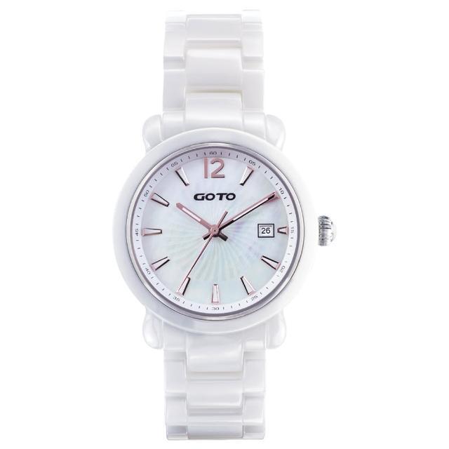 【GOTO】Aurora 陶瓷時尚手錶-白x玫(GC0167M-22-H41)