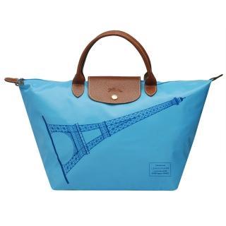 【LONGCHAMP】巴黎鐵塔紀念款拉鍊摺疊短把購物包(中-蔚藍色1623346-072)