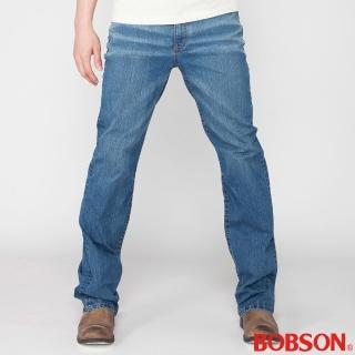 【BOBSON】男款高腰伸縮直筒褲(藍1798-53)