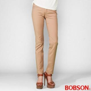 【BOBSON】女款超手感彈力小直筒褲(卡其8113-72)