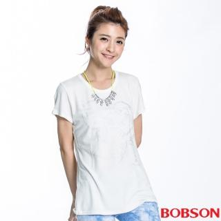 【BOBSON】女款高跟鞋印圖短袖上衣(米白22133-81)