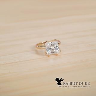 【RD 兔子公爵】經典歐美風格 個性超大璀璨方鑽設計戒指(單色)