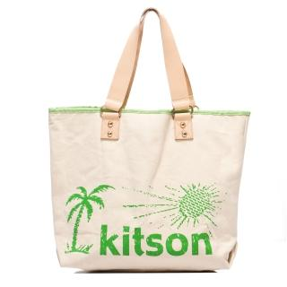 【Kitson】夏威夷風真皮背帶托特包L(GREEN)