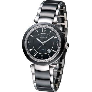 Diadem 黛亞登 都會女伶晶鑽陶瓷腕錶 - 黑/35mm (8D1407-511DD-D)