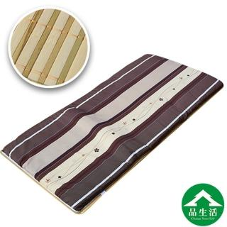 【品生活】冬夏兩用青白鋪棉床墊3x6尺單人(櫻花直條)