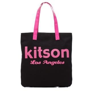 【Kitson】美式學院風方型托特包(BLACK)