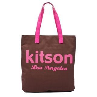 【Kitson】美式學院風方型托特包(BROWN)