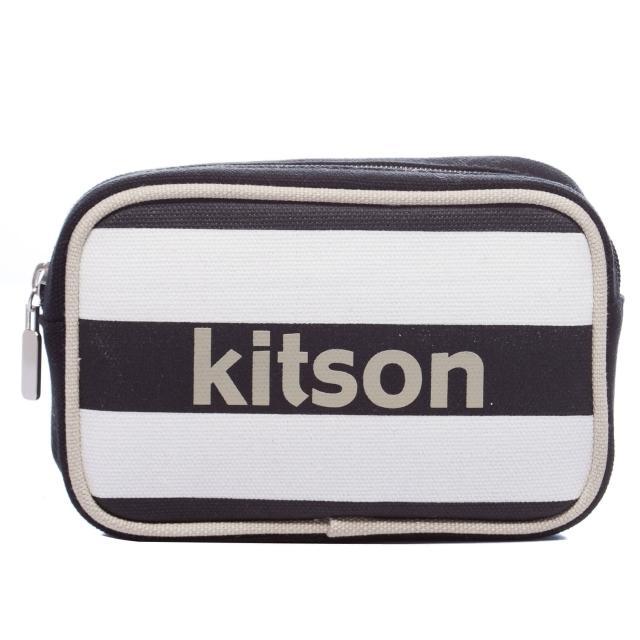 【Kitson】海軍橫條化妝包(BLACK)