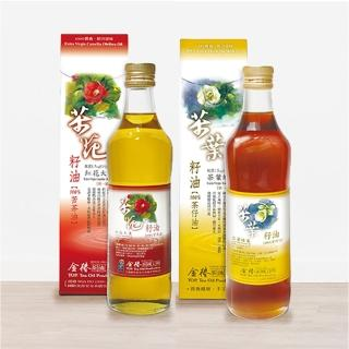 【金椿茶油工坊】白花茶籽油+紅花大果苦茶油500ml*4(買就贈送50ml苦茶油貳瓶)