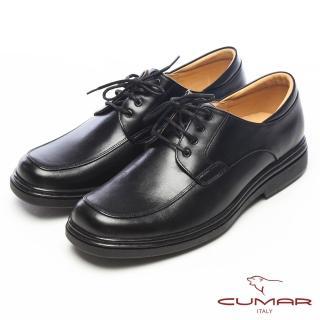 【CUMAR】流線感‧小牛皮光澤綁帶氣墊鞋(黑)