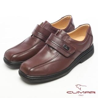 【CUMAR】紳士專用‧皮革光澤側扣氣墊鞋(咖啡)