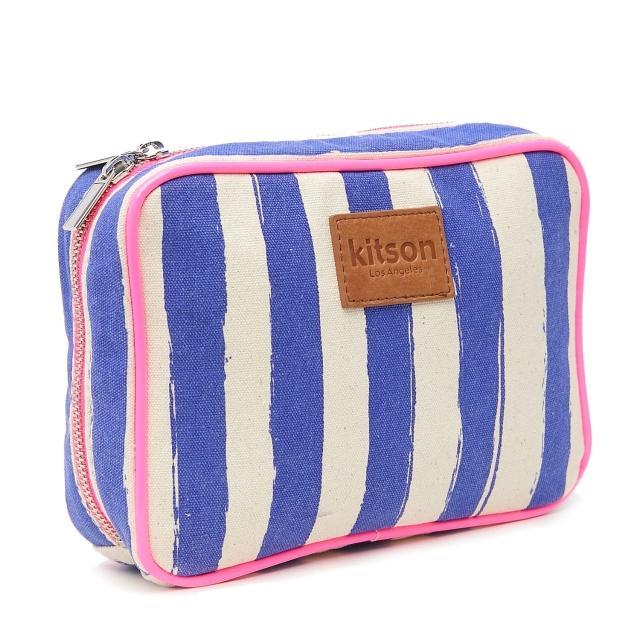 【Kitson】螢光滾邊條紋帆布化妝包(L-Blue)