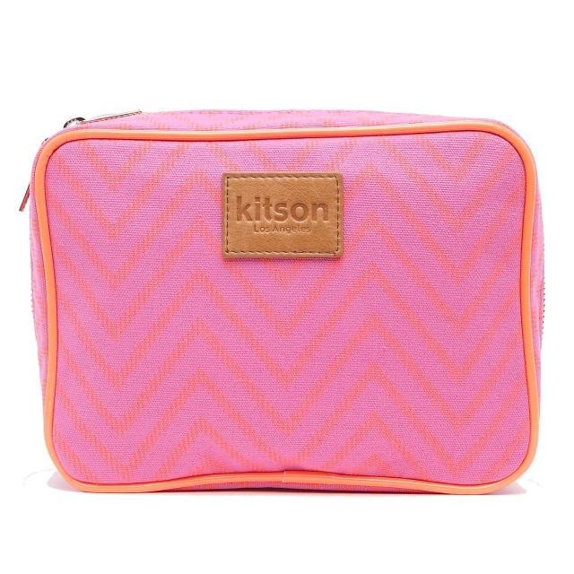 【Kitson】螢光滾邊山形帆布化妝包(L-Pink)