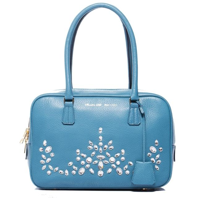 【A.D.M.J.】華麗水晶牛革 BOSTON BAG(BLUE)