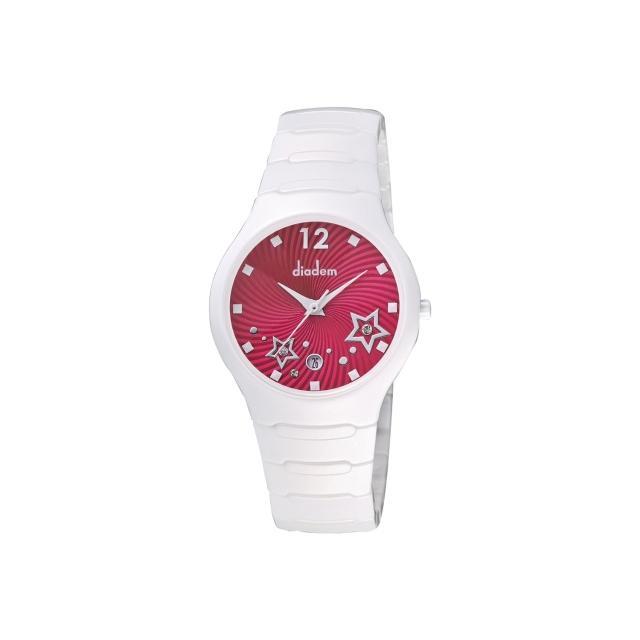 【Diadem】黛亞登 甜蜜星空時尚白陶瓷腕錶-桃紅/36mm(9D1407-541SD-R)