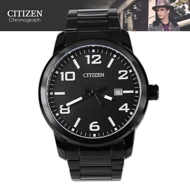 【CITIZEN 星辰】黑鋼時尚石英指針男錶(BI1025-53E)
