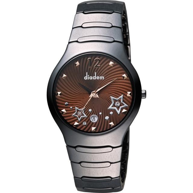 【Diadem】黛亞登 浪漫星空陶瓷腕錶-咖啡x黑/38mm(9D1407-541DD-C)