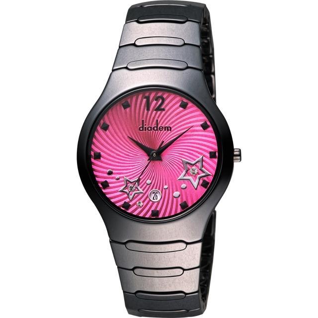 【Diadem】黛亞登 浪漫星空陶瓷腕錶-桃紅x黑/38mm(9D1407-541DD-R)