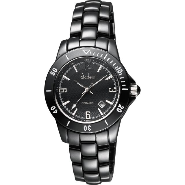 【Diadem】黛亞登 菱格紋雅緻陶瓷腕錶-黑/35mm(8D1407-551D-D)