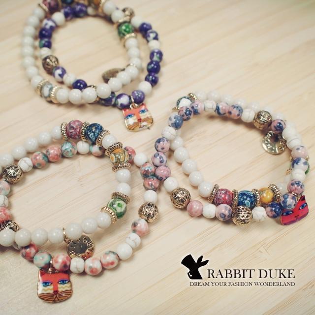 【RD 兔子公爵】經典歐美風格 個性可愛俏皮小貓多彩天然石串珠手鍊(三色)