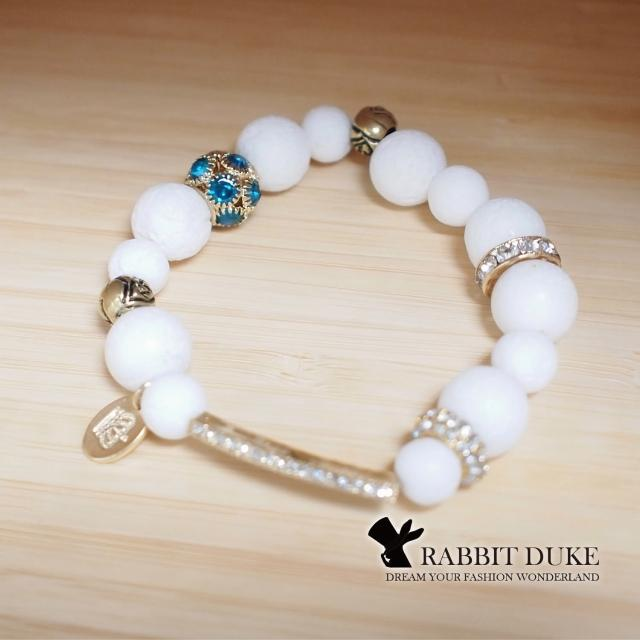 【RD 兔子公爵】經典歐美風格 個性白貝殼拼接長形鑽設計串珠手鍊(單色)