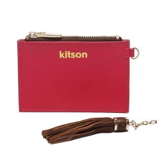 【Kitson】流蘇Card case真皮鎖匙/零錢包(PINK)