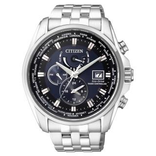 【CITIZEN GES】時尚風格光動能電波時計腕錶(藍黑/43mm/AT9031-52L)