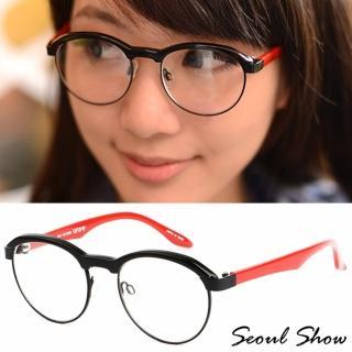 【Seoul Show】復古小眉框 平光眼鏡(6762 黑框紅腳)