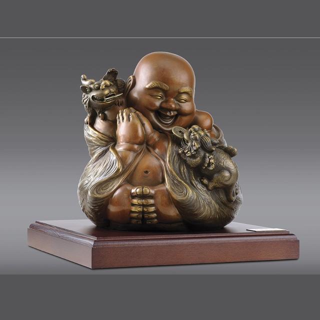 【雕塑藝術大師 羅廣維】福慧雙修(貔貅 彌勒佛 銅雕)