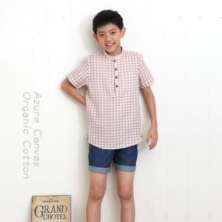 【azure canvas藍天畫布】100%有機棉/ 男童柔紗格子襯衫110-140cm(褐色)