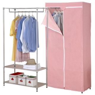 【克諾斯】120*45*180三層防塵衣櫥架(粉紅點點)