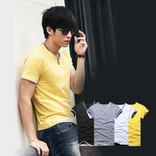 【ENNE】百搭純色假兩件短袖修身男士V領上衣T恤/四色