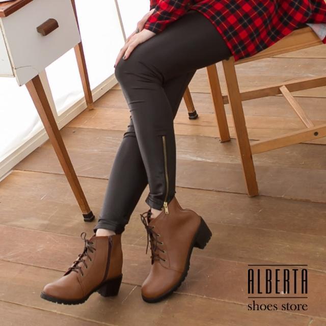 【Alberta】帥氣艾薇兒又率性素色側拉鍊素面牛津粗低跟綁帶短筒靴(咖啡)
